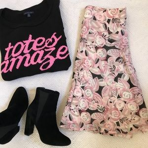 NECESSARY OBJECTS Pink Black Cotton Floral Skirt S